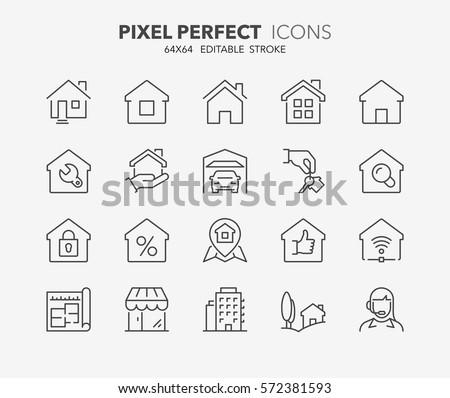 Casa apartamento planejamento vetor fino linha Foto stock © pikepicture