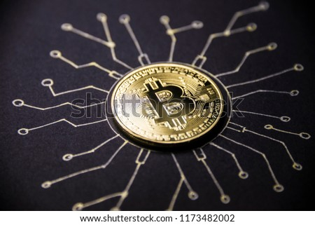 Gold coin Bitcoin lies on the painted chip Stock photo © butenkow
