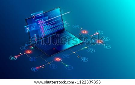 Codering isometrische icon vector teken Stockfoto © pikepicture