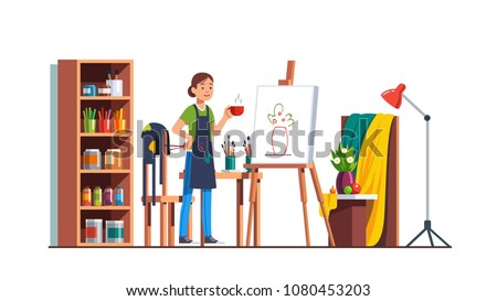 craftswoman painter holding a brush Stock photo © photography33