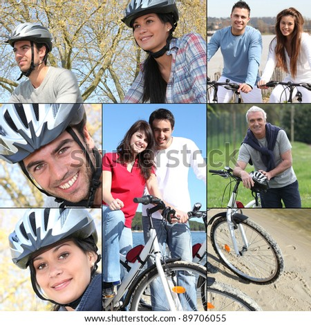 collage of a couple with their bicycles stock photo © photography33