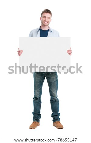 man holding a blank white board stock photo © ra2studio