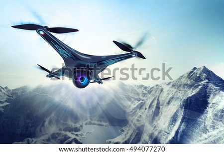 flying drone with camera on ground Stock photo © goce