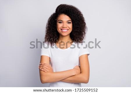 Charming smiling woman in white shirt Stock photo © stokkete