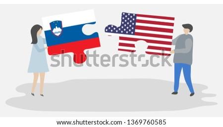 USA · Słowenia · flagi · puzzle · wektora · obraz - zdjęcia stock © istanbul2009