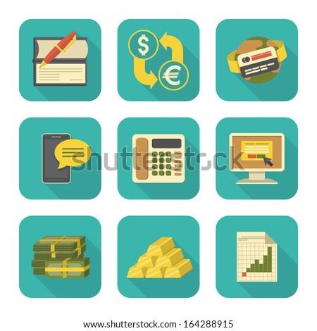 Moderna estilizado financieros iconos largo Foto stock © vectorikart