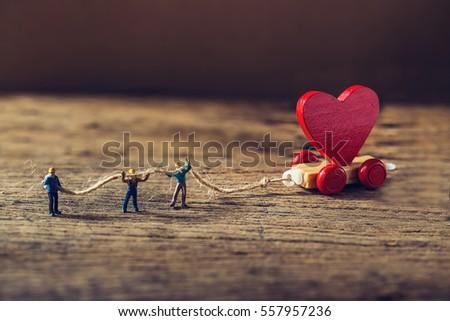 wooden little hearts Stock photo © OleksandrO