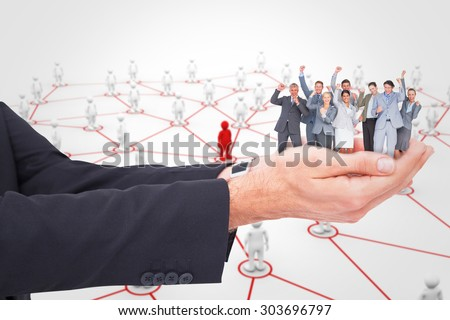 business men standing by red line stock photo © is2