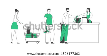 Male Paying for Purchase in Supermarket Vector Stock photo © robuart