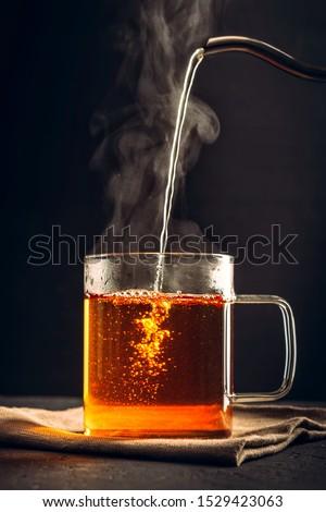 Photo stock: Boisson · chaude · tasse · café · main · fumée · thé
