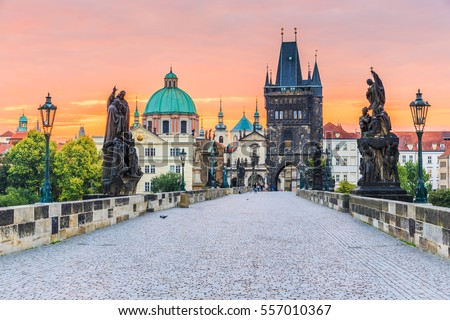 Charles bridge in Prague at sunrise Stock photo © AndreyKr