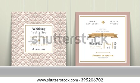 invitation card with pink holiday ribbon on vintage background stock photo © fresh_5265954