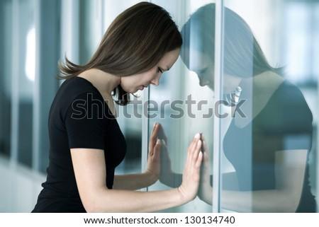 Işkadını pencere iş kadın ofis Stok fotoğraf © IS2