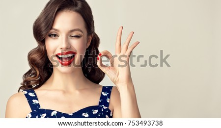 Young woman showing ok sign Stock photo © bmonteny