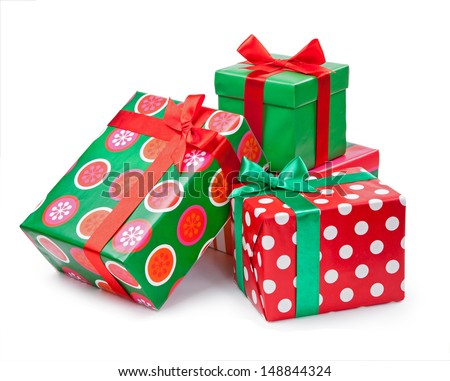 Christmas present wrapped and tied with red ribbon Stock photo © stevanovicigor