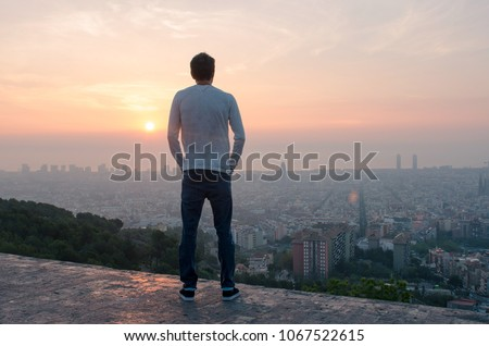 man looking over city stock photo © backyardproductions