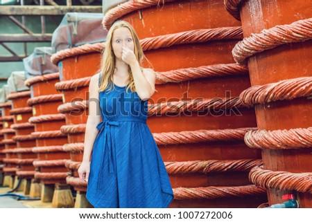 The woman shows how stinks fish sauce on Phu Quoc, Vietnam Stock photo © galitskaya