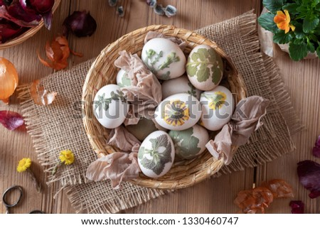 Preparation of Easter eggs for dying with onion peels Stock photo © madeleine_steinbach
