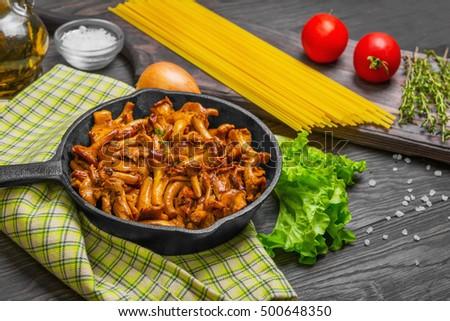 Pasta with fried chanterelles Stock photo © Alex9500