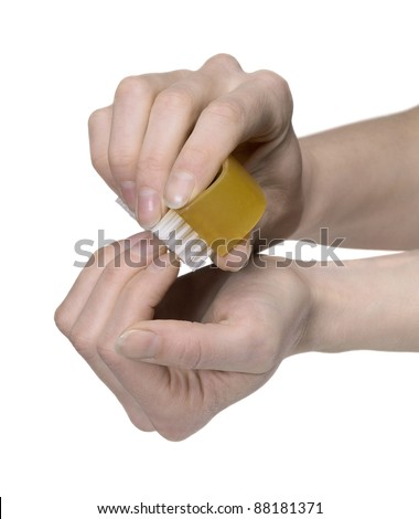 Cleaning Nails With A Scrubber Photo stock © PRILL