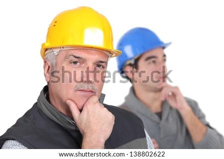 Zamyślony ręce człowiek budowy pracy niebieski Zdjęcia stock © photography33