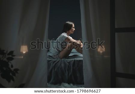 sitting on the bed Stock photo © carlodapino