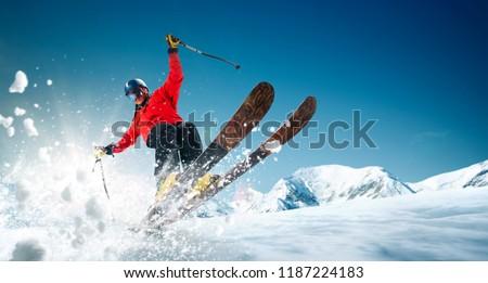 Síelő női Alpok Európa égbolt tél Stock fotó © val_th