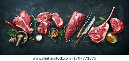 Nyers hús darab marhahús előkészített háttér Stock fotó © Marfot