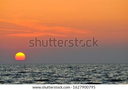 mediterraneo · mare · tramonto · orizzonte · arancione · sole - foto d'archivio © smuki