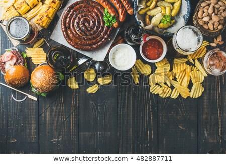 Oktoberfest establecer salchichas carne cerveza Foto stock © karandaev