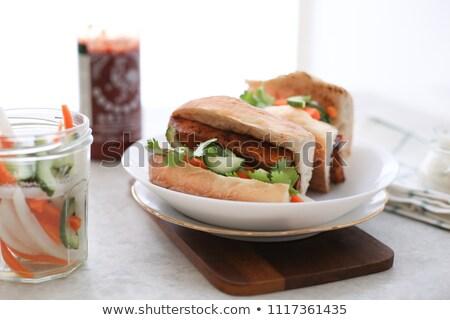 A delicious Vietnamese Bahn Mi sandwich Stock photo © galitskaya
