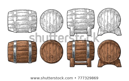 Standing Vintage Wooden Barrel Side View Color Vector Stock photo © pikepicture