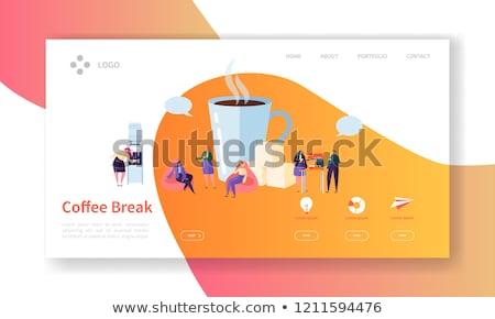 koffiepauze · app · interface · sjabloon · man · vergadering - stockfoto © rastudio
