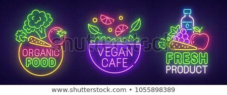 Dieta alimentare neon etichetta sport promozione Foto d'archivio © Anna_leni