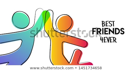 best friends card of stick people doing high five stock photo © cienpies