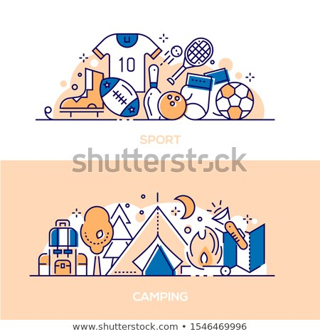 active lifestyle leisure linear banner templates set stock photo © decorwithme