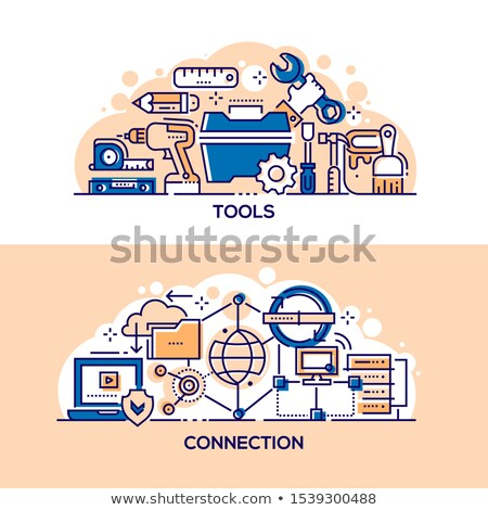 Złota rączka narzędzia Internetu związku banner szablon Zdjęcia stock © Decorwithme