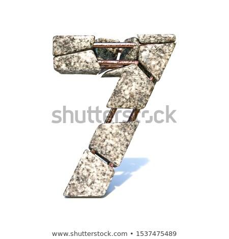 Concrete frattura carattere numero sette 3D Foto d'archivio © djmilic