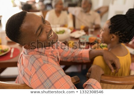 Achteraanzicht afro-amerikaanse paar vergadering eettafel Stockfoto © wavebreak_media