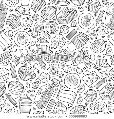 Desenho animado bonitinho comida italiana colorido Foto stock © balabolka