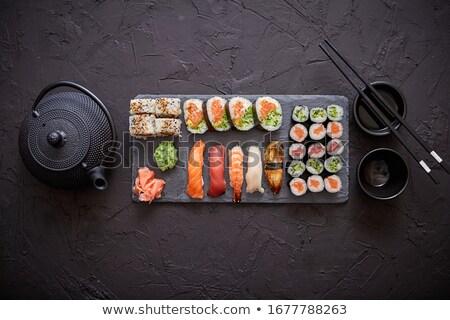 Farklı sushi siyah taş Stok fotoğraf © dash