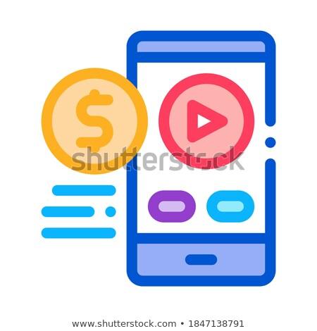 Elad telefon játékos ikon vektor skicc Stock fotó © pikepicture