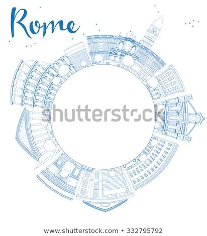 Outline Rome skyline with blue landmarks and copy space Stock photo © ShustrikS