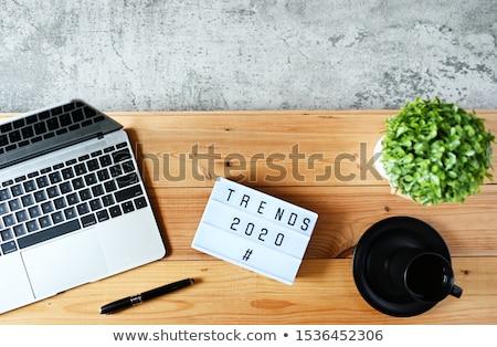 Тенденции текста ноутбук столе 3d визуализации Сток-фото © Mazirama