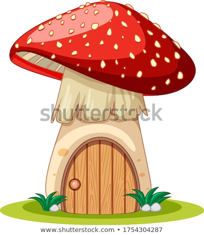 Grzyby domu cartoon stylu biały ilustracja Zdjęcia stock © bluering