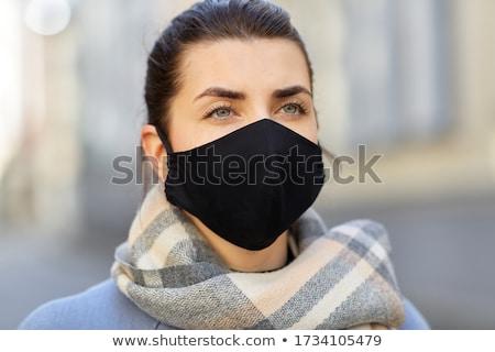 Mulher jovem elegante têxtil cara máscara tecido Foto stock © Giulio_Fornasar