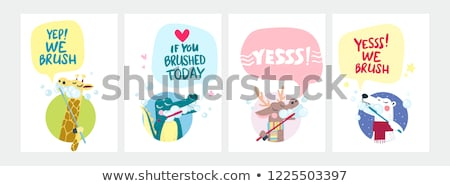 vector set of animal brushing teeth Stock photo © olllikeballoon