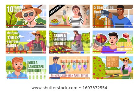 Farmer blogger show on video his garden. Woman gardener shares ideas Stock photo © robuart