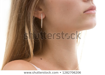 Gyönyörű lány ékszerek fül férfi divat modell Stock fotó © ruslanshramko
