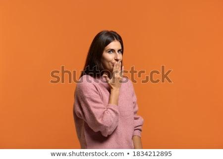 портрет смеясь женщины молчание знак Сток-фото © deandrobot
